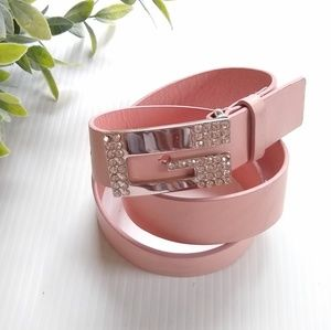 Guess • pink genuine leather belt w/silver buckle